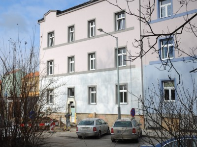 Omítky Knauf v bytovém domě Pod Labuťkou