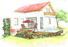 Pohled na prostor terasy u domu po založení zahrady