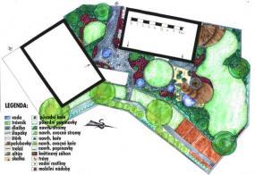 Půdorys zahrady ve variantě B.