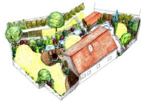 Pohled z výšky na zahradu ve variantě B.