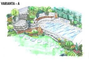 Varianta A – dřevěná podesta a vstavaná kruhová lavička zpříjemňují pobyt u bazénu.