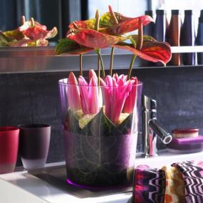 Koupelnu dotváří lineární kytice růžových lilií.