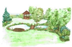 Přírodní jezírko a altán v závěru zahrady