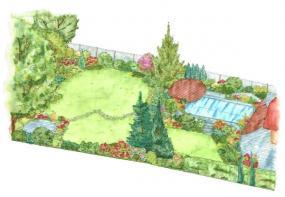 Zadní část zahrady s kruhovým posezením a dřevěnou podestou u bazénu