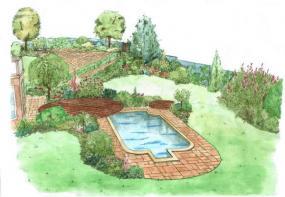 Pohled na prostor u domu s bazénem a dřevěnými platy