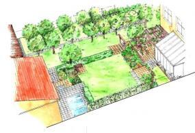 Varianta B – Přímé linie čtverců a obdélníků vymezují plochy dlažeb a záhonů