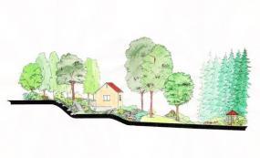 Řez AB ukazuje modelaci terénu a tři schodiště v okolí chaty