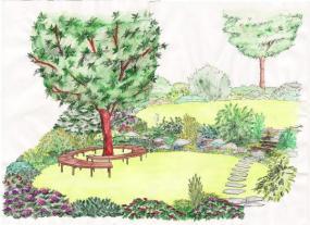 Originální lavička pod stromem oživí zahradu