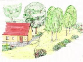 Pohled na přístupový chodníček a terasu před domem