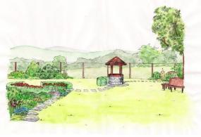 Tři kruhově řešené prvky vzadní části zahrady