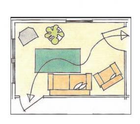 Zde je tok energie dobrý, protože se proplétá nábytkem až ke dveřím ven.