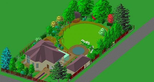 obměna zahrady kolem domu s arkýři - geometrický vzor, ale nyní měkčí - kruhový (axonometrie)