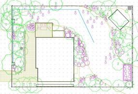 půdorys - plynulý vzor v zahradě chatové oblasti obklopené&nbspvolnou přírodou
