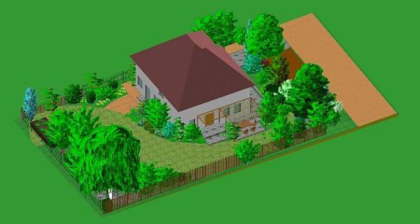 axnometrický náhled zahrady postavené na uvolněném plynulém designu