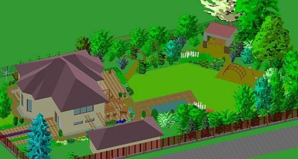 rozpracovaný projekt geometricky členěné zahrady, jejíž vzor vychází ze tvaru arkýřů stavby