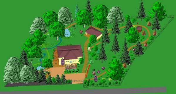 vzor zcela podporující napodobení volné přírody v zahradě ležící uprostřed lesa