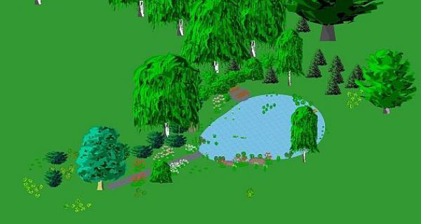 vzor zcela podporující  přírodní uspořádání, zahrada leží mimo vesnici v krásné pošumavské krajině