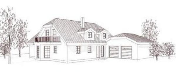 Obr: ARNET, typový dům v Táboře - nákres