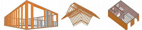 Obr: Dřevostavby OK, panelové dílce stěn, střešní a stropní konstrukce