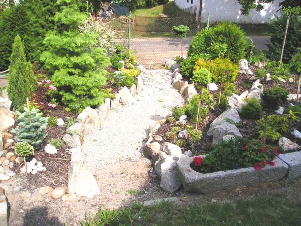 Okrasná zahrada osázená s použitím textilie
