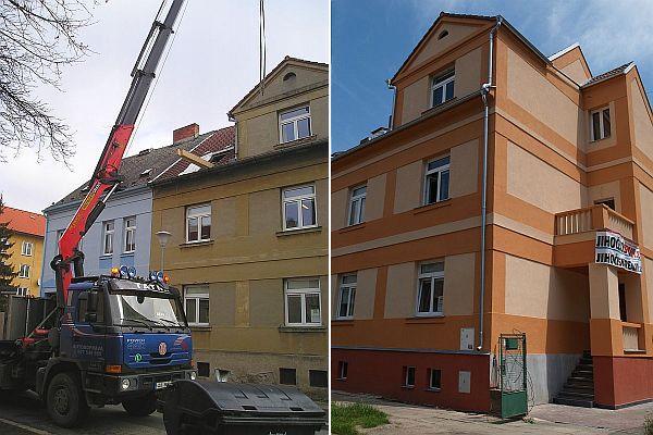 Foto: ČESKÉSTAVBY.cz, původní a nová fasáda