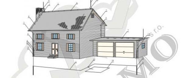 Obr: HROMO, schéma ochrany domu před bleskem