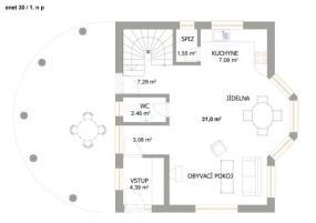 Obr: Enet holding, typový dům ENET 30, půdorys přízemí