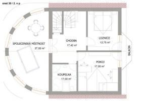 Obr: Enet holding, typový dům ENET 30, půdorys prvního podlaží