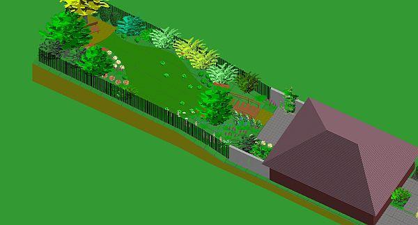 Bručná - úzká a dlouhá zahrada u řadového domku