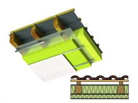 Zateplení mezi a pod krokvemi materiálem Airrock LD nebo Airrock ND.