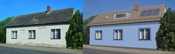 Foto: BRAMAC, dům v původním stavu před rekonstrukcí a model