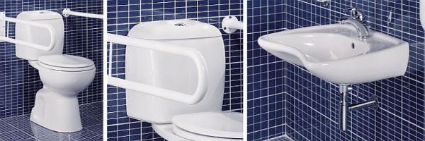 Zdroj: www.sapho-koupelny.cz, DISABLE WC mísa a nádržka, umyvadlo pro postižené