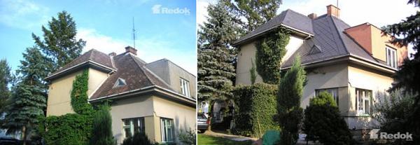 Foto: Redok, střecha před čištěním a nátěrem a po dokončení