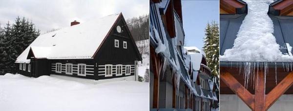 Nebezpečí samovolného skluzu sněhu a pádu ledových rampouchů