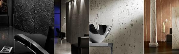 Zdroj: www.architects-paper.cz, Stoneplex břidlice, beton, travertin a pískovec