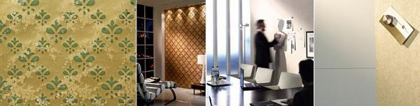 Zdroj: www.architects-paper.cz, látkové tapety - zlaté květy, magnetická stěna