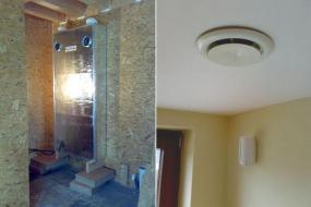 Svisle umístěná rekuperační jednotka Helix a talířový ventil přivádějící čerstvý vzduch do místnosti