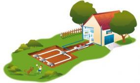 Ilustrační foto (www.shutterstock.com), schéma horizontálního tepelného čerpadla země-voda