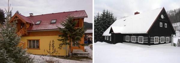 Porovnávané domy (nížina versus horská oblast)