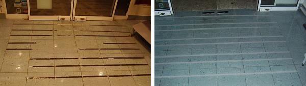Foto: Renovace kamene Pokorný, plocha před a po aplikaci pásků