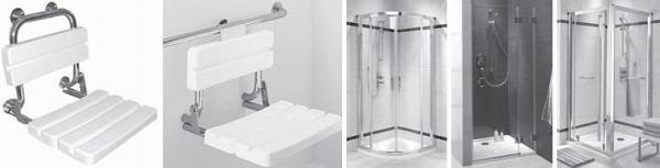 Foto: www.sanitec.cz, sedátka do sprchy a sprchové kouty