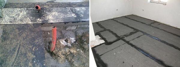 Foto: ČESKÉSTAVBY.cz, izolace základu pod nosným zdivem a napojení na izolaci podlahy