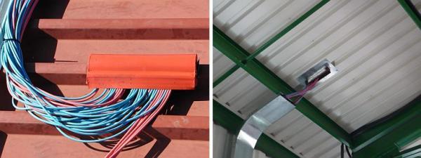 Foto: SOLARENVI, prostupy kabelů střechou a kabelové trasy