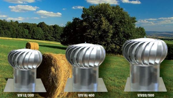 Foto: Tauris plus, ventilační turbíny VIV 300, 16/400 a 20/500