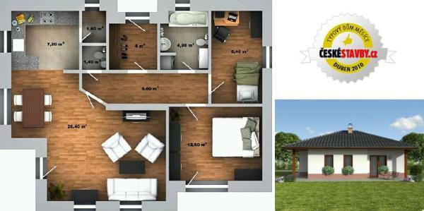 Obr: Ekonomické stavby, vizualizace domu Katka - půdorys interiéru a severní pohled