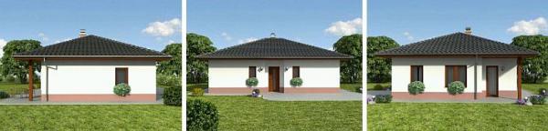 Obr: Ekonomické stavby, vizualizace domu Katka - jižní, východní a západní pohled