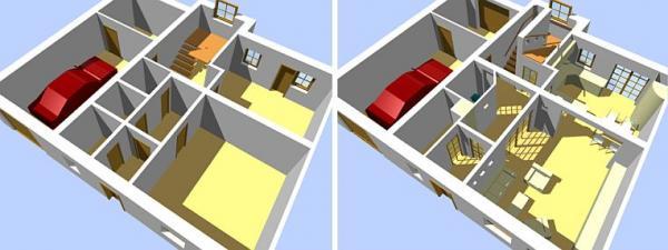Model: A-SPEKTRUM, interiér před a po rekonstrukci podle Feng shui