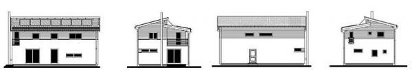 Obr: RD RÝMAŘOV, dům Kubis Lumio - pohled jižní, západní, severní a východní