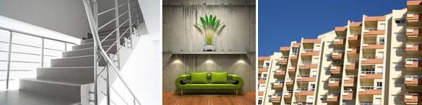 Foto: www.shutterstock.com, betonové schodiště, betonová stěna v interiéru a panelový dům