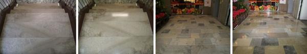 Foto: Fortel CB, leštění mramorového schodiště a dlažby (vždy před a po)